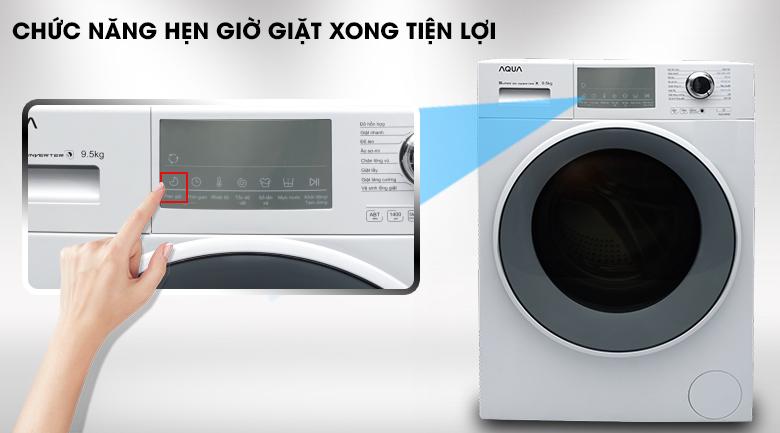 Tính năng hẹn giờ giặt xong - Máy giặt Aqua Inverter 9.5 kg AQD-D950E W