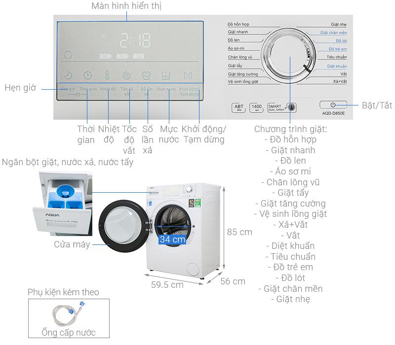 Thông số kỹ thuật Máy giặt Aqua Inverter 8.5 kg AQD-D850E W