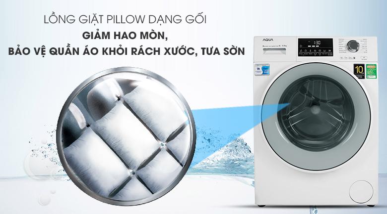 Lồng giặt Pillow bằng thép chống gỉ - Máy giặt Aqua Inverter 8.5 kg AQD-D850E W
