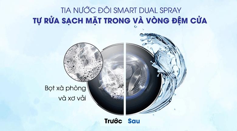 Tự làm sạch mặt trong cửa – Smart Dual Spray - Máy giặt Aqua Inverter 8.5 kg AQD-D850E W