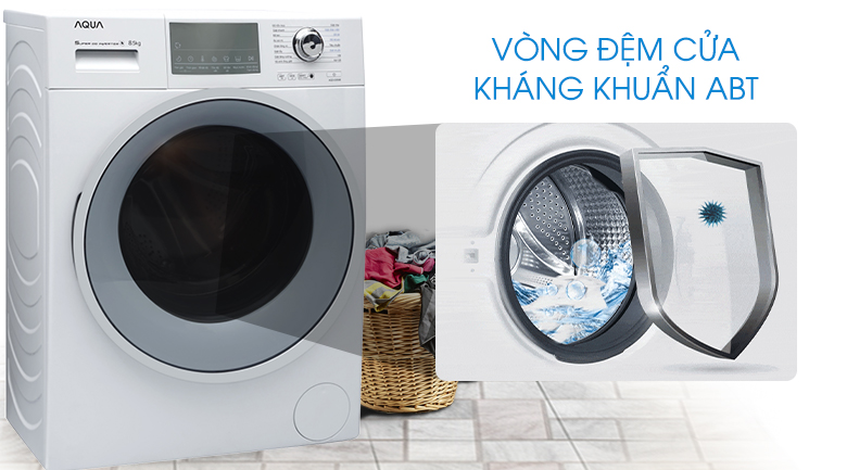 Vòng đệm cửa kháng khuẩn ABT - Máy giặt Aqua Inverter 8.5 kg AQD-D850E W