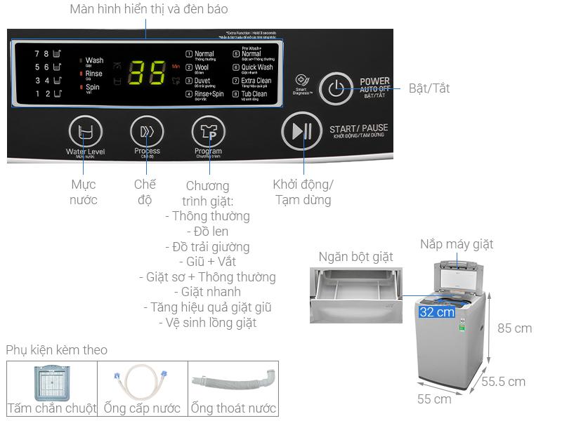 Thông số kỹ thuật Máy giặt LG Inverter 8 kg T2108VSPM2
