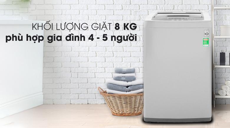 Máy giặt LG Inverter 8 kg T2108VSPM2 - Khối lượng giặt 8 kg, phù hợp gia đình 4 - 5 người