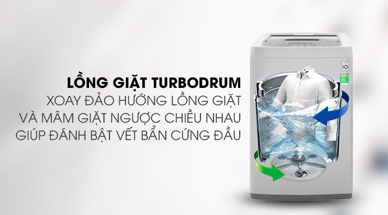Máy giặt LG Inverter 8 kg T2108VSPM2-Giảm xoắn rối quần áo bởi lồng giặt Turbo Drum