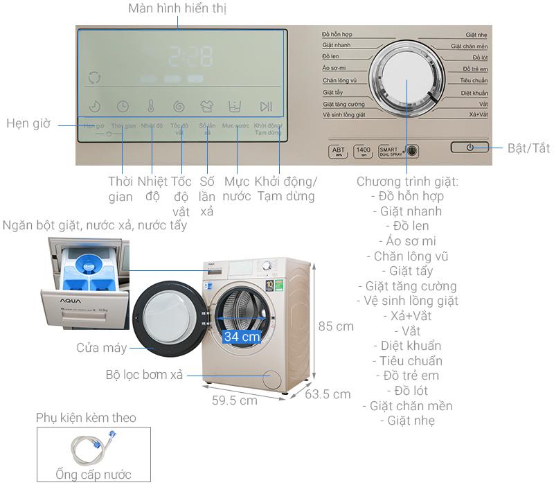 Thông số kỹ thuật Máy giặt Aqua Inverter 10.5 kg AQD-D1050E N