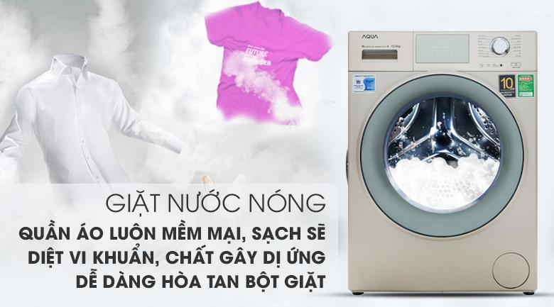 Giặt nước nóng diệt khuẩn - Máy giặt Aqua Inverter 10.5 kg AQD-D1050E N