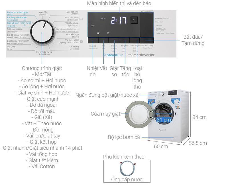 Thông số kỹ thuật Máy giặt Beko Inverter 9 kg WCV9612XB0ST