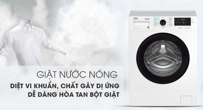 Máy giặt Beko Inverter 9 kg WCV9612XB0ST -Loại bỏ tác nhân gây dị ứng trên sợi vải nhờ tính năng giặt nước nóng