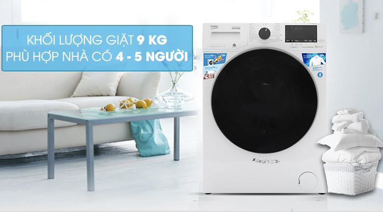 Máy giặt Beko Inverter 9 kg WCV9649XWST - Khối lượng giặt 9 kg, phù hợp với gia đình 4 - 5 người