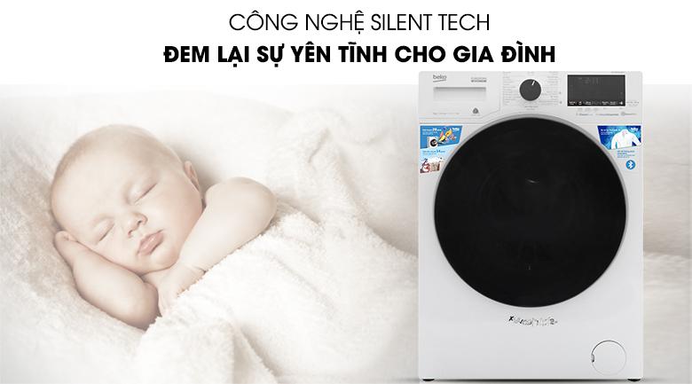 Máy giặt Beko Inverter 9 kg WCV9649XWST - Không gây tiếng ồn với công nghệ Silent Tech