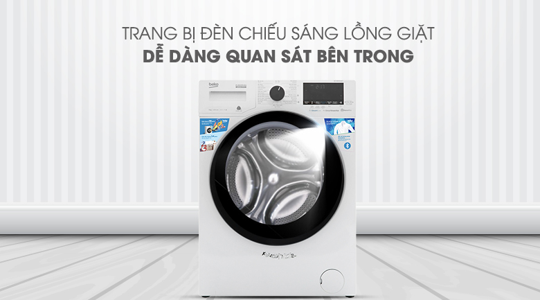 Máy giặt Beko Inverter 9 kg WCV9649XWST - Quan sát dễ dàng khi trang bị hệ thống đèn chiếu sáng lồng giặt