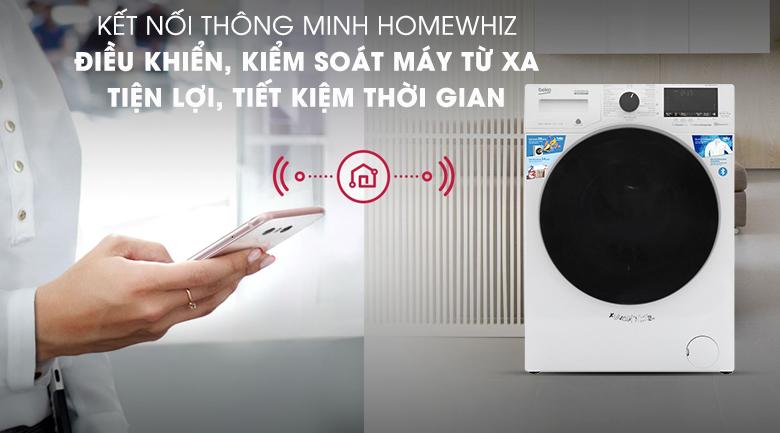 Máy giặt Beko Inverter 9 kg WCV9649XWST - Điều khiển và kiểm soát từ xa với kết nối thông minh HomeWhiz