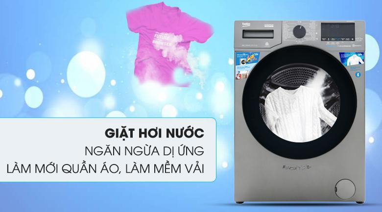 Máy giặt Beko Inverter 9 kg WCV9749XMST - Loại bỏ vi khuẩn, tránh tác nhân gây dị ứng bám trên quần áo nhờ tính năng giặt hơi nước