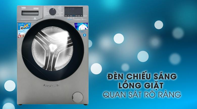 Máy giặt Beko Inverter 9 kg WCV9749XMST-Quan sát rõ với hệ thống đèn chiếu sáng lồng giặt