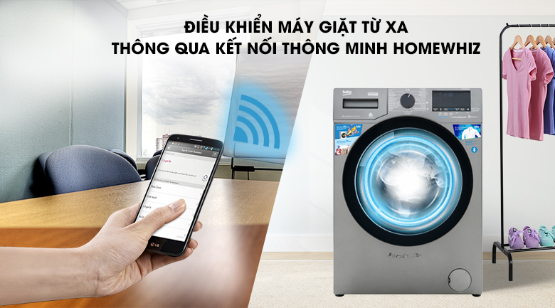 Máy giặt Beko Inverter 9 kg WCV9749XMST - Kiểm soát và điều khiển chức năng máy giặt từ xa bởi kết nối thông minh HomeWhiz