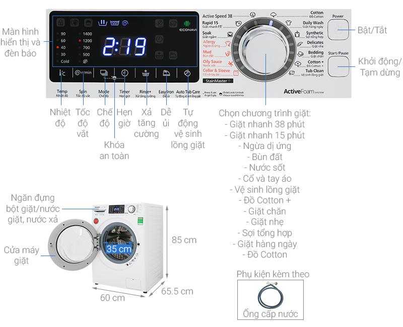 Thông số kỹ thuật Máy giặt Panasonic Inverter 9 Kg NA-V90FG1WVT