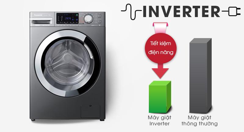 Máy giặt Panasonic Inverter 10 Kg NA-V10FX1LVT-Sử dụng điện hiệu quả với công nghệ Inverter