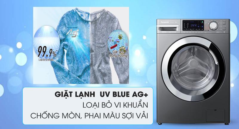 Máy giặt Panasonic Inverter 10 Kg NA-V10FX1LVT-Loại bỏ vi khuẩn, chống phai màu sợi vải bằng giặt lạnh UV Blue Ag+