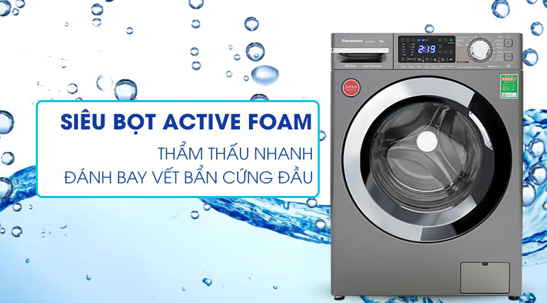 Máy giặt Panasonic Inverter 9 Kg NA-V90FX1LVT - Active Foam