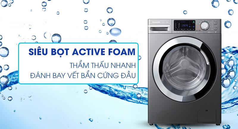 Máy giặt Panasonic Inverter 9 Kg NA-V90FX1LVT-Hòa tan bột giặt nhanh, đánh bay vết bẩn cứng nhờ Active Foam