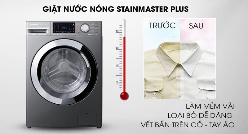 Máy giặt Panasonic Inverter 9 Kg NA-V90FX1LVT-Đánh bật nhanh vết bẩn cứng đầu với giặt nước nóng StainMaster+