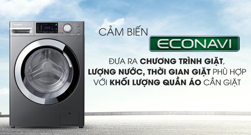 Máy giặt Panasonic Inverter 9 Kg NA-V90FX1LVT-Tiết kiệm nước đáng kể nhờ cảm biến Econavi