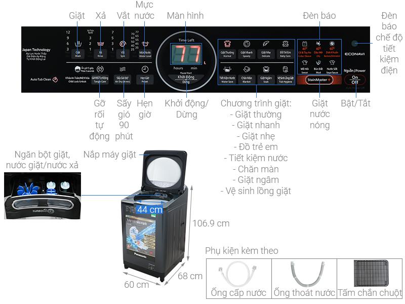 Thông số kỹ thuật Máy giặt Panasonic Inverter 12.5 Kg NA-FD12VR1BV