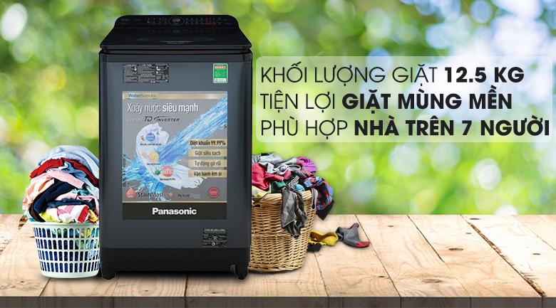 Máy giặt Panasonic Inverter 12.5 Kg NA-FD12VR1BV - Khối lượng giặt 12.5 kg, thích hợp cho gia đình trên 7 thành viên