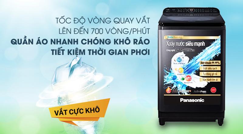 Máy giặt Panasonic Inverter 12.5 Kg NA-FD12VR1BV-Tiết kiệm thời gian phơi đồ với tính năng vắt cực khô