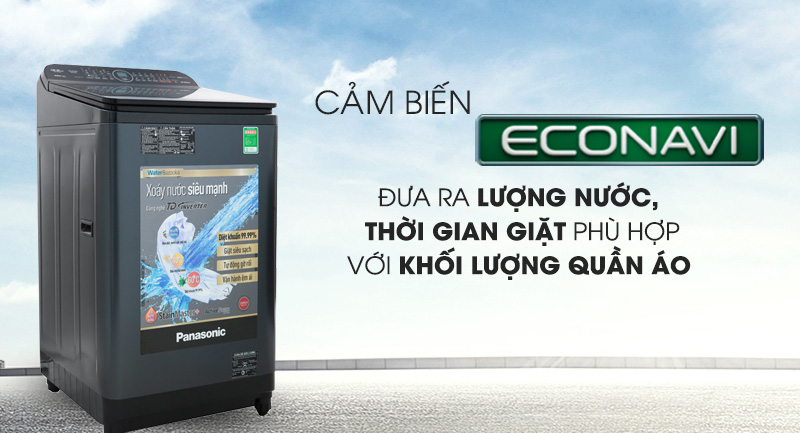 Máy giặt Panasonic Inverter 12.5 Kg NA-FD12VR1BV-Tiết kiệm nước nhờ cảm biến Econavi