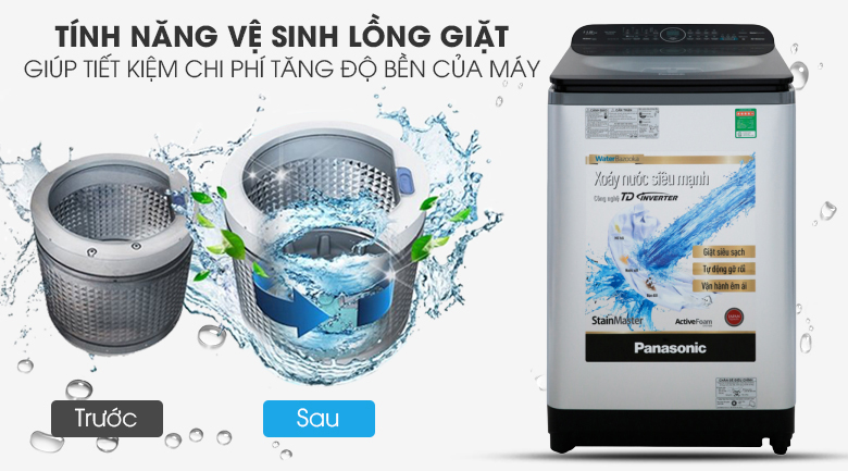 Máy giặt Panasonic Inverter 11.5 Kg NA-FD11XR1LV - Tiết kiệm chi phí và thời gian bởi tính năng vệ sinh lồng giặt