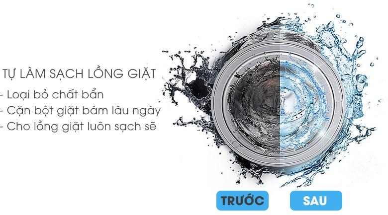 Vệ sinh lồng giặt tự động - Máy giặt Samsung Addwash Inverter 9 Kg WW90K44G0YW/SV