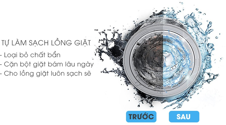 Vệ sinh lồng giặt tự động - Máy giặt Samsung Addwash Inverter 10 Kg WW10K44G0YW/SV