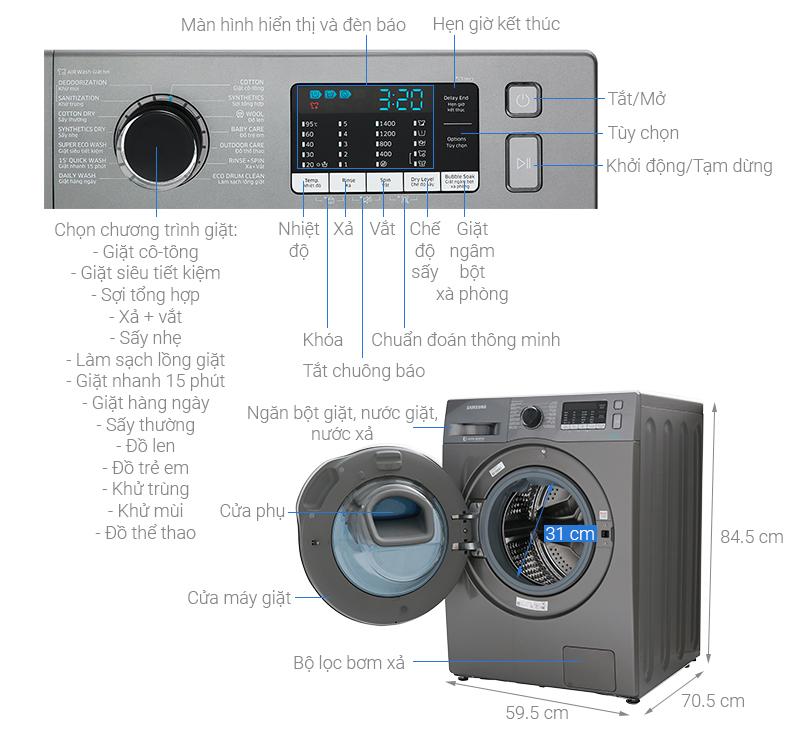 Thông số kỹ thuật Máy giặt sấy Samsung AddWash Inverter 9.5 kg WD95K5410OX/SV