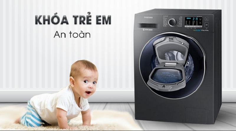 Máy giặt sấy Samsung AddWash Inverter 9.5 kg WD95K5410OX/SV-An toàn cùng chức năng khóa trẻ em