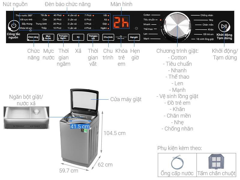 Thông số kỹ thuật Máy giặt Aqua Inverter 12 Kg AQW-DR120CT S