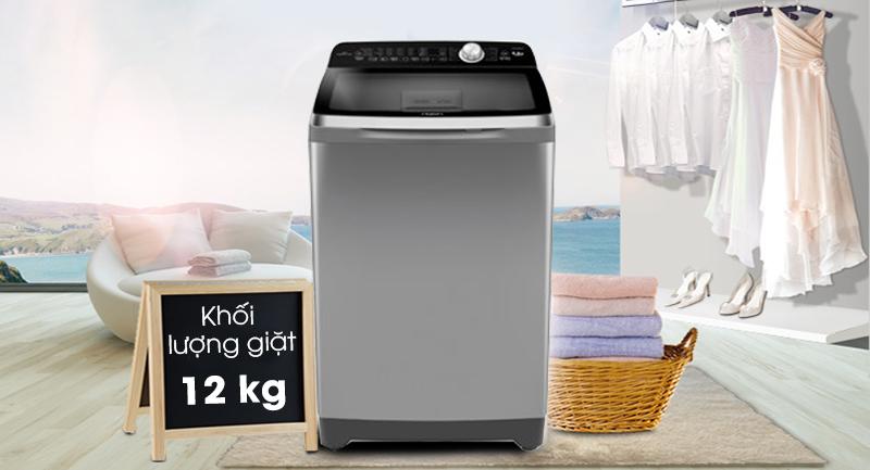 Máy giặt Aqua Inverter 12 Kg AQW-DR120CT S-Khối lượng giặt 12 kg, phù hợp gia đình đông người (trên 6 thành viên)