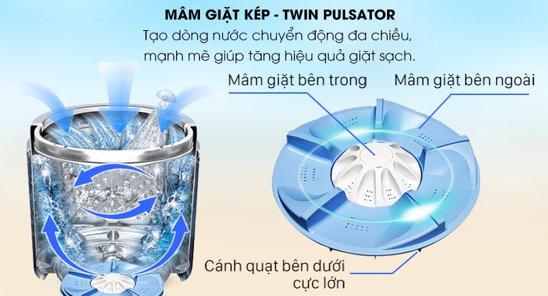 Máy giặt Aqua Inverter 12 Kg AQW-DR120CT S-Nâng cao hiệu quả giặt sạch cùng mâm giặt kép Twin Pulsator