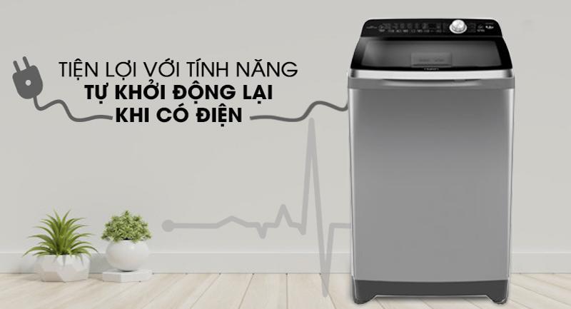 Máy giặt Aqua Inverter 12 Kg AQW-DR120CT S-Tiện lợi với khả năng tự khởi động lại khi có điện
