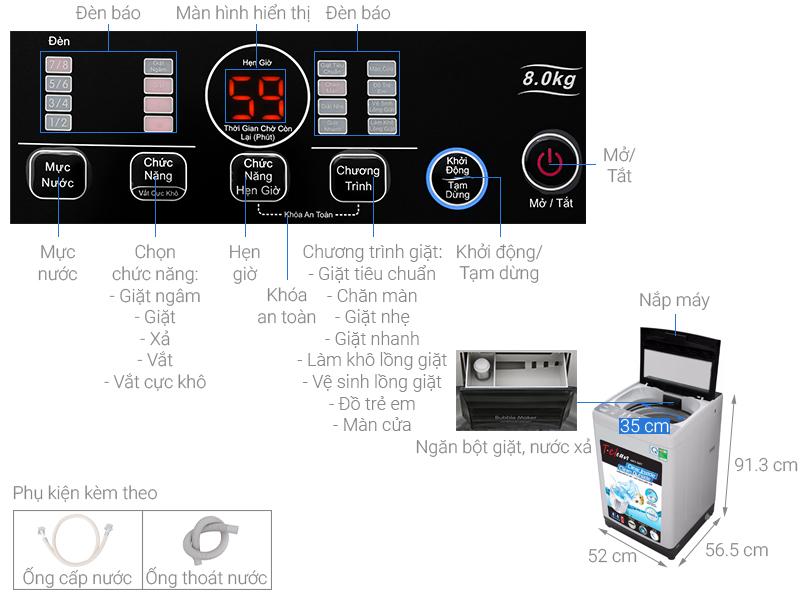 Thông số kỹ thuật Máy giặt TCL 8 Kg TWA80-B302GM