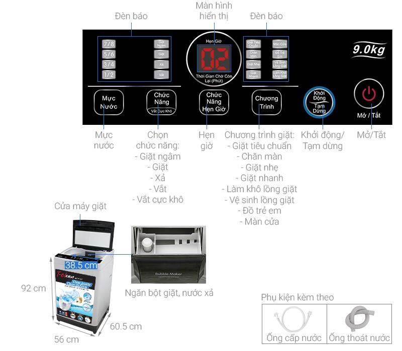 Thông số kỹ thuật Máy giặt TCL 9 Kg TWA90-B302GM