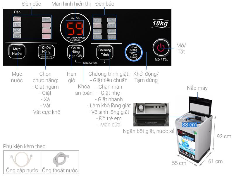 Thông số kỹ thuật Máy giặt TCL 10 Kg TWA100-B302GM