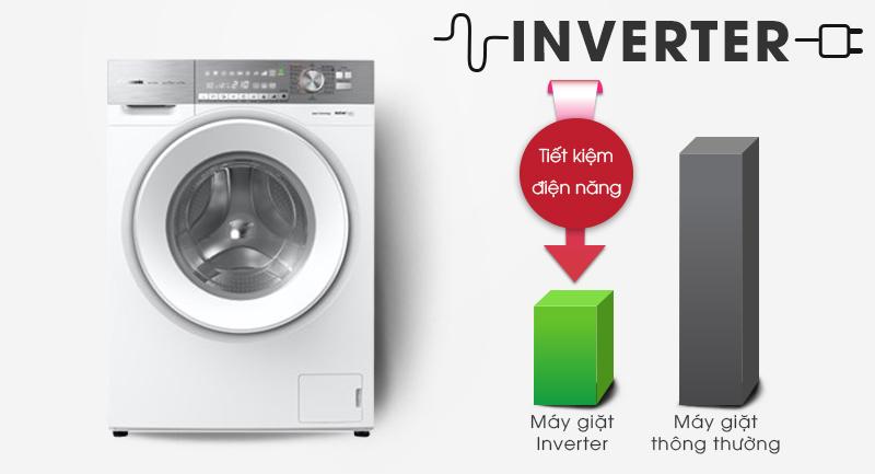 Máy giặt Panasonic Inverter 10 Kg NA-S106G1WV2-Sử dụng điện hiệu quả với công nghệ Inverter