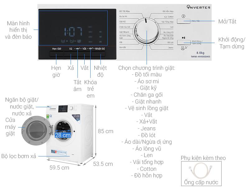 Thông số kỹ thuật Máy giặt TCL Inverter 8 Kg TWF80-M14303DA03