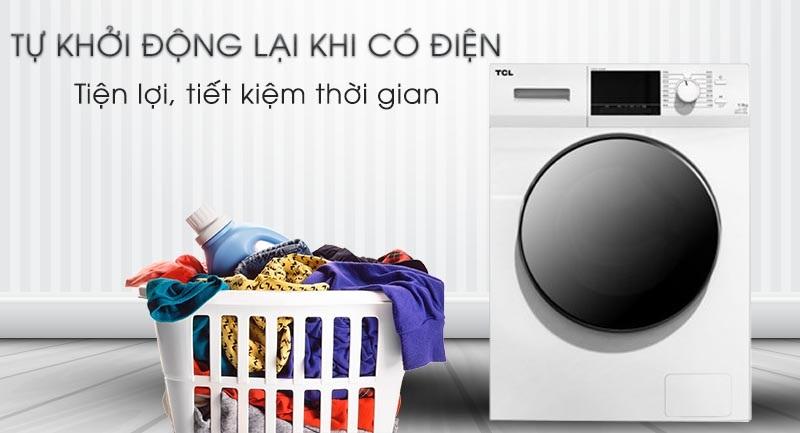 Máy giặt TCL Inverter 8 Kg TWF80-M14303DA03-Tiện lợi với chức năng tự khởi động lại khi có điện