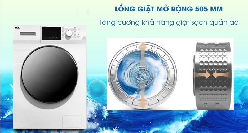Máy giặt TCL Inverter 8 Kg TWF80-M14303DA03-Tăng cường khả năng giặt sạch với lồng giặt mở rộng 505 mm
