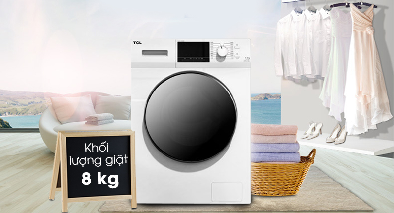 Máy giặt TCL Inverter 8 Kg TWF80-M14303DA03-Khối lượng giặt 8 kg, phù hợp cho gia đình từ 4 - 5 người
