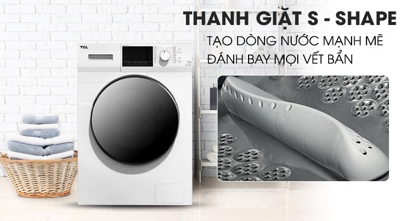 Máy giặt TCL Inverter 8 Kg TWF80-M14303DA03-Tạo dòng nước mạnh mẽ, đánh bật vết bẩn cùng thanh giặt S - shape