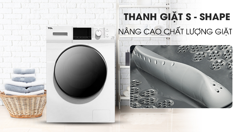 Máy giặt TCL Inverter 9 Kg TWF90-M14303DA03 - cấu trúc thanh giặt S - Shape
