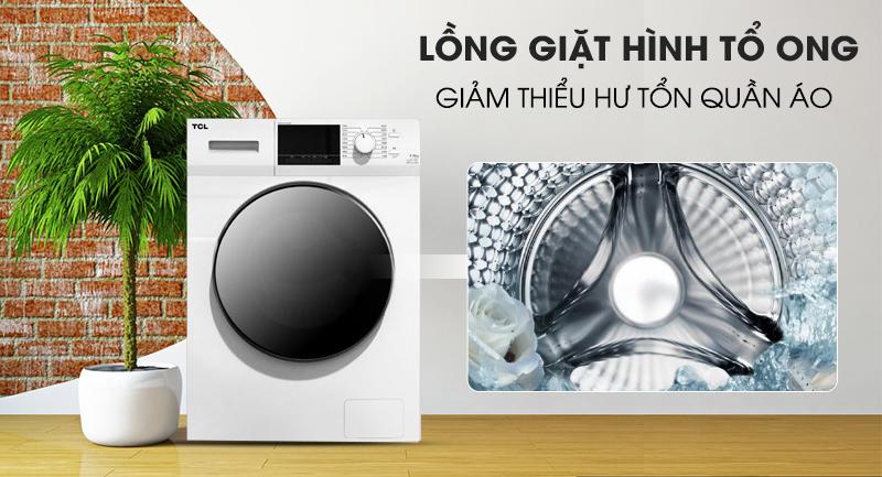 Máy giặt TCL Inverter 10 Kg TWF100-M14303DA03 -Giảm thiểu hư tổn quần áo nhờ lồng giặt tổ ong xoay 360 độ